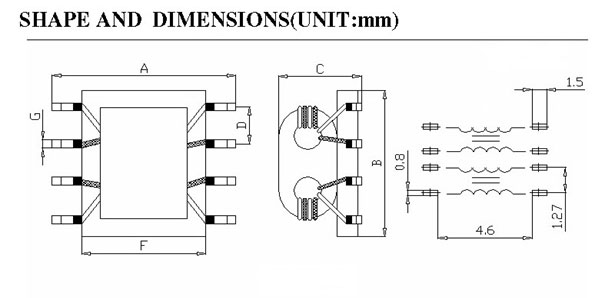 Surface Mount Common Mode Choke Shapes and Dimensions